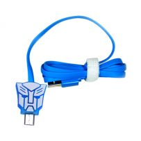 Kabel Led Kartun MICRO USB - Transformer - Biru