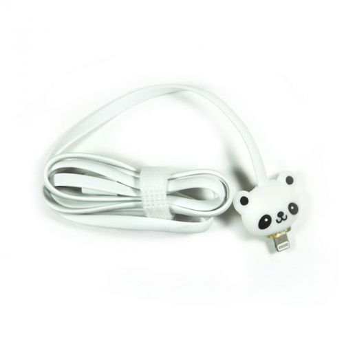 Kabel Led Kartun IPhone 5 - Panda - Putih